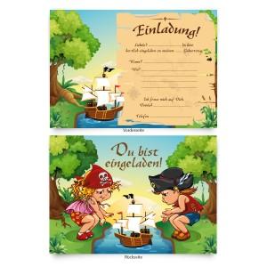"""Einladungskarten (8 Stück) zum Geburtstag """"Piraten"""""""