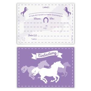 """Einladungskarten zur Einschulung (8 Stück) """"Pferde"""""""