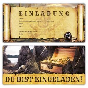 """Geburtsag Einladungskarten (12 Stück) """"Piraten Flaschenpost"""""""