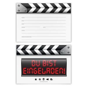 """Geburtstag Einladungskarten (12 Stück) """"Filmklappe"""""""