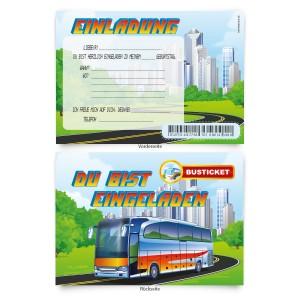 """Geburtstagskarten  zum Einladen """"Busfahrt"""""""