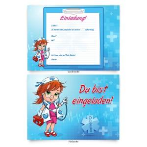 """Geburtstagseinladungen (8 Stück)  für Kinder """"Krankenschwester / Ärztin"""""""