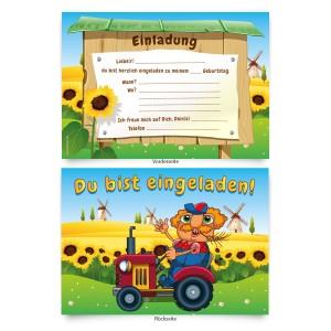 """Geburtstagskarten (8 Stück) zum Einladen """"Bauernhof"""""""