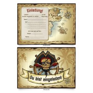 """Geburtstagseinladungen (8 Stück)  für Kinder """"Piraten Schatzkarte"""""""