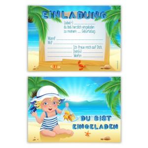 """Kindergeburtstagseinladungen (8 Stück) """"Sandstrand"""""""