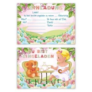 """Kindergeburtstagseinladungen (8 Stück) """"Tee Party"""""""