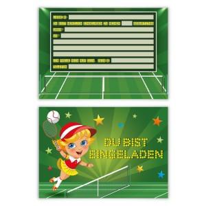 """Kindergeburtstagseinladungen (8 Stück) """"Tennis"""""""
