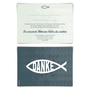 """Trauerkarten (12 Stück) """"Jesus Fisch"""" Vorausgefüllt"""