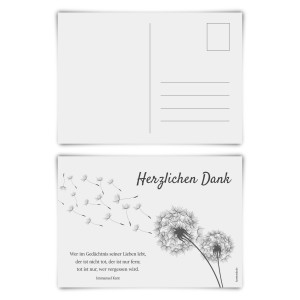 "Trauerkarten (12 Stück) ""Pusteblume"" Postkarten"