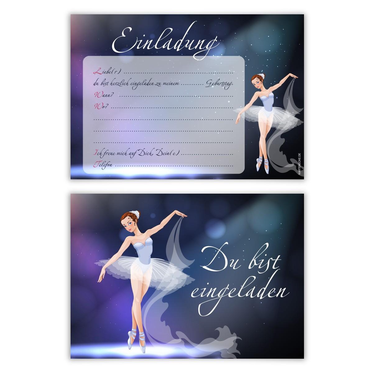 ballerina einladungskarten 8 st ck kindergeburtstag. Black Bedroom Furniture Sets. Home Design Ideas