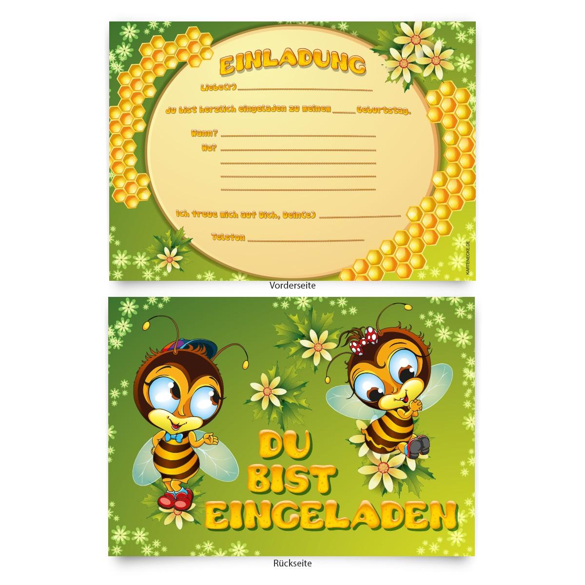 """""""bienen"""" kindergeburtstag einladungskarten online"""
