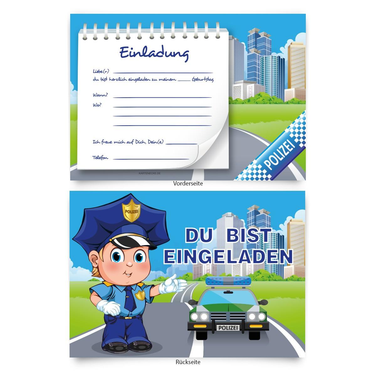 """""""polizei"""" geburtstagseinladungen für kinder online"""