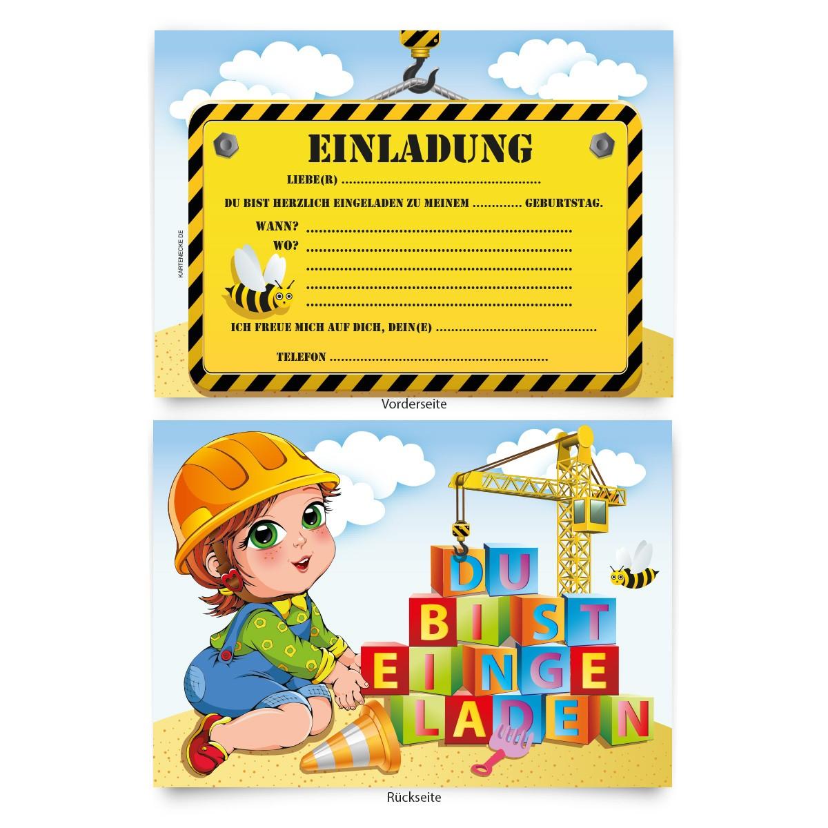 """""""baustelle"""" kindergeburtstag einladungskarten online"""