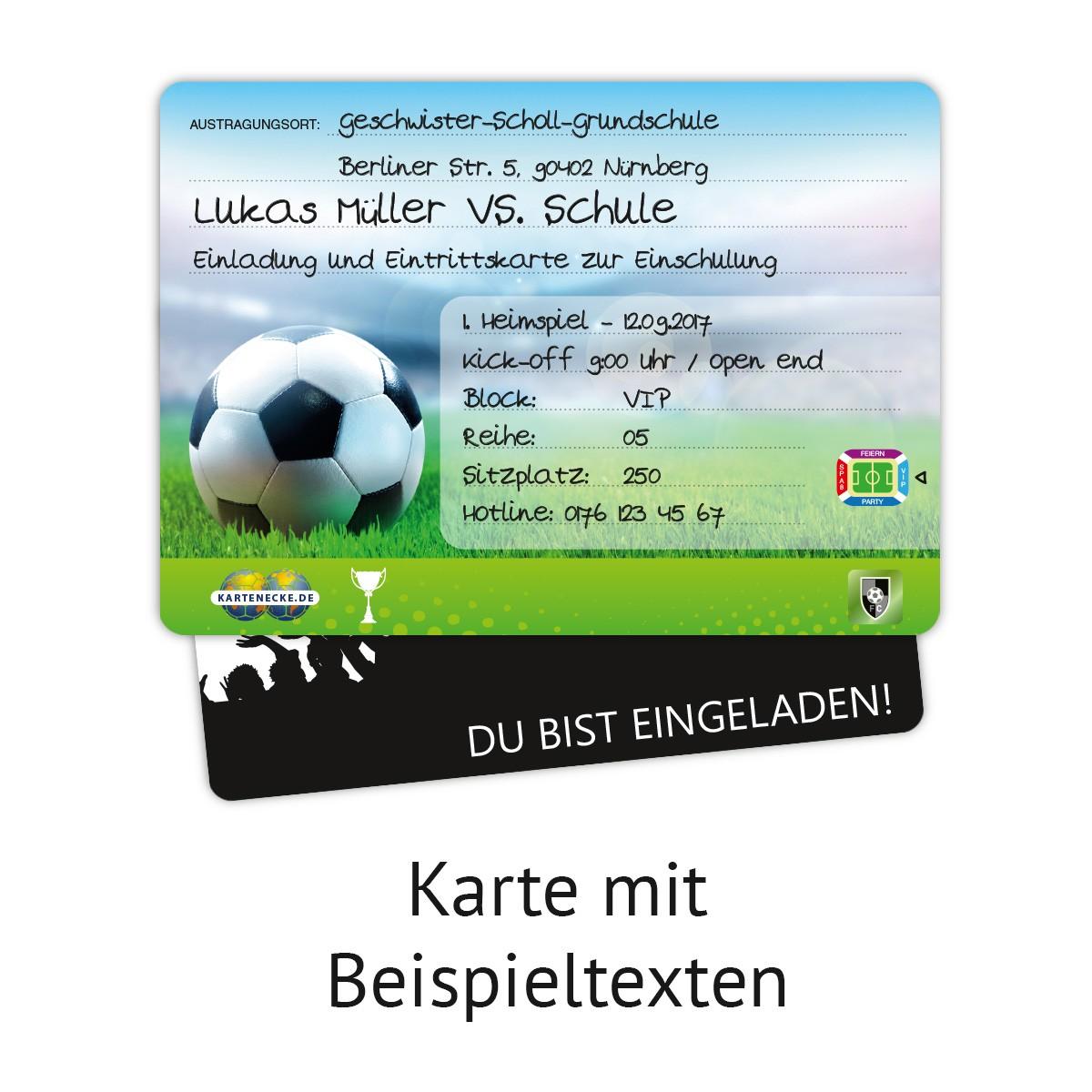 Einladungskarten Zur Einschulung 8 Stuck Fussball Ticket
