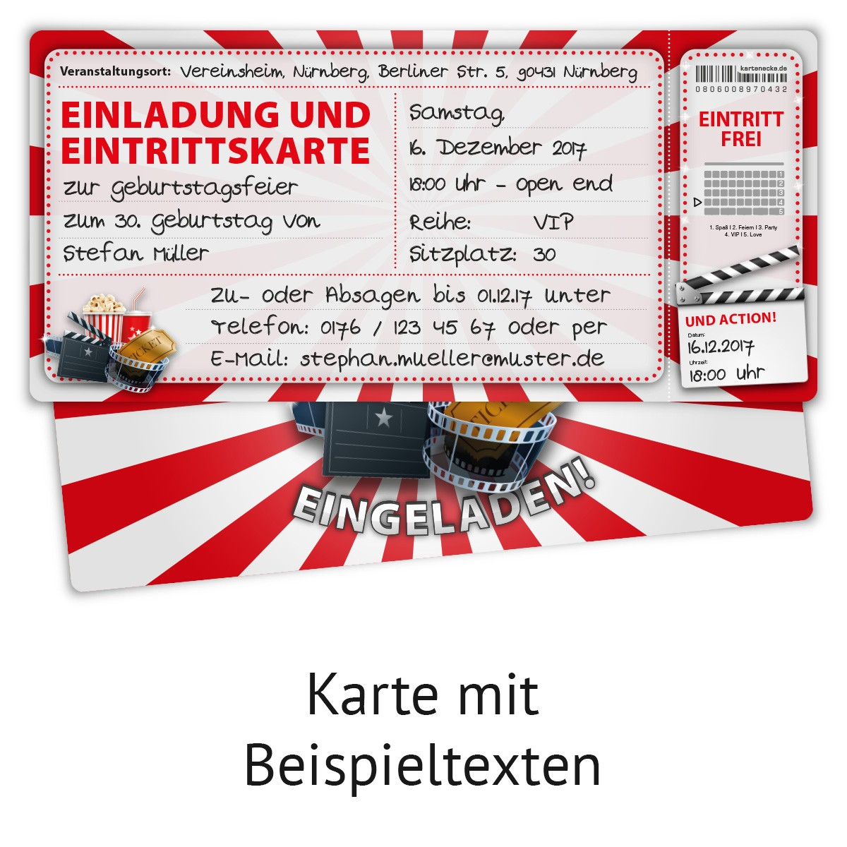 """""""kino ticket"""" einladungskarten 12 stück für erwachsene"""