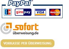 Sie können mit Paypal, Sofortüberweisung oder mit Vorkasse per Überweisung bezahlen.
